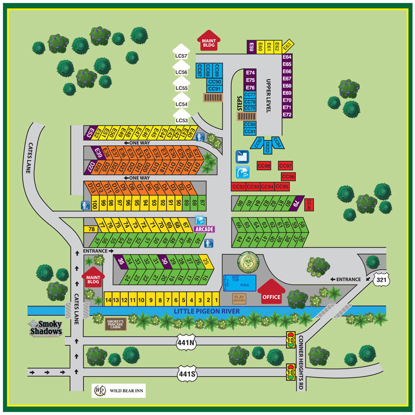 Camping In Tennessee Map.Pigeon Forge Rv Park Campground Map