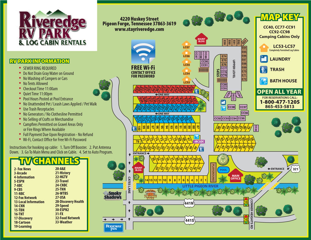 Pigeon Forge RV Park Campground Map - Pigeon forge tennessee on us map